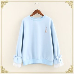 Fairyland - Rabbit Embroidered Bell-Sleeve Sweatshirt