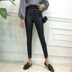 Octavia - Slit Hem Skinny Faux Leather Pants