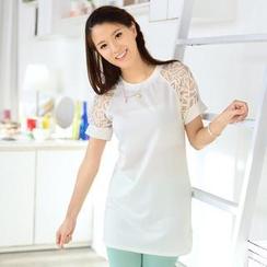 59 Seconds - Short-Sleeve Mesh Panel Dress