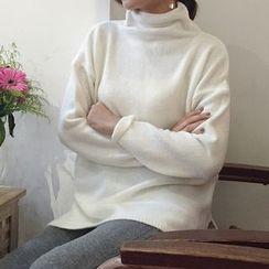 Bloombloom - Mock Neck Long Sweater