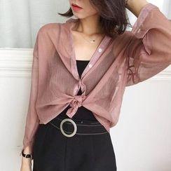 Dasim - Band Collar Chiffon Shirt