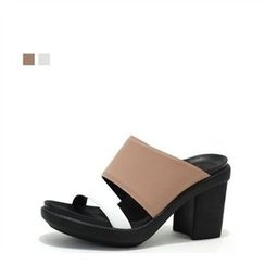 MODELSIS - Genuine Leather Chunky-Heel Mules