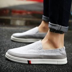 HANO - Faux-Leather Panel Linen Slip-Ons