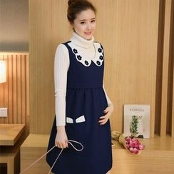 Mamaladies - Maternity Set: Sweater + Collared Dress