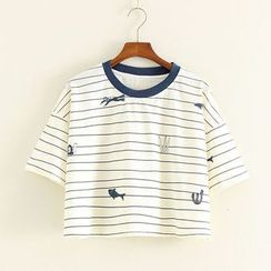 Mushi - Short-Sleeve Striped T-Shirt