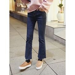 hellopeco - Boots-Cut Brushed Fleece Jeans
