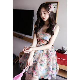 LOVEMARSH - Floral Print Mesh-Back A-Line Dress
