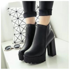 BAYO - Platform Block Heel Zip-up Ankle Boots