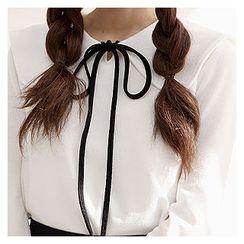 Sechuna - Tie-Neck Collared Top