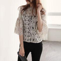 NIPONJJUYA - Bell-Sleeve Sheer Lace Top