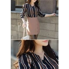 MyFiona - V-Neck Striped Blouse