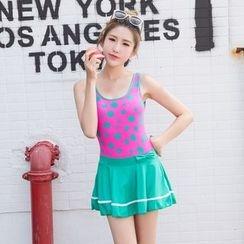 DAISI - Polka-Dot Swim Dress