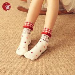 Socka - Plaid-Cuff Ruffled Printed Socks