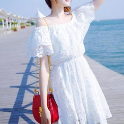 Jolly Club - Off-Shoulder Lace A-Line Dress