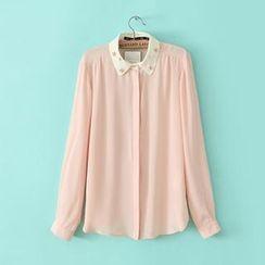 JVL - Jeweled-Collar Chiffon Shirt