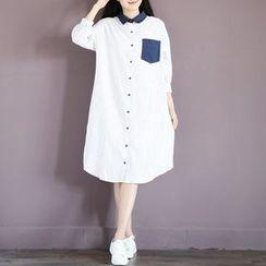 Fancy Show - 條紋襯衫裙