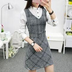 Cottony - Plaid Mock Two-Piece Dress