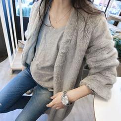 MARSHMALLOW - Open-Front Faux-Fur Jacket