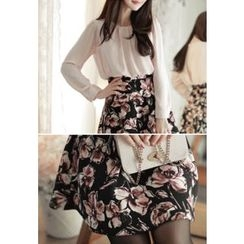 MyFiona - Mock Two-Piece Floral Print Chiffon Dress