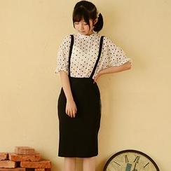 Moriville - Set: Elbow-Sleeve Dotted Top + Suspender Skirt