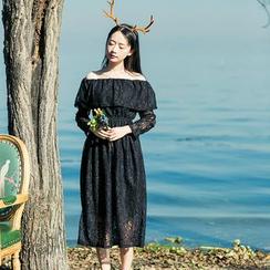 Sens Collection - Off Shoulder Long Sleeve Lace Midi Dress