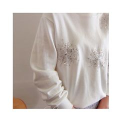 LEELIN - Round-Neck Sequined T-Shirt