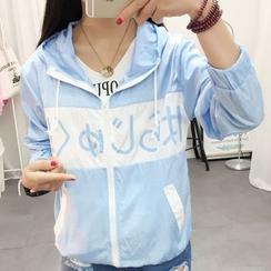 Yohana - Lettering Color Panel Hooded Zip Jacket