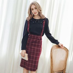 Tokyo Fashion - Check Bow-Accent Jumper Skirt