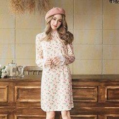 Tokyo Fashion - Long-Sleeve Lace-Panel Printed Dress