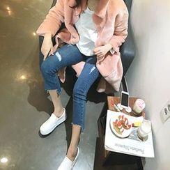 MARSHMALLOW - Maternity Fray-Hem Cropped Jeans