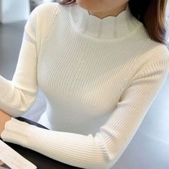anzoveve - Scallop Trim Mock Neck Sweater