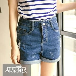 Tokyo Fashion - Distressed Cuffed Denim Shorts