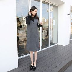 Hello sweety - V-Neck Sleeveless Wool Blend Dress