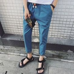 NINETTE - Floral-Cuff Cropped Tapered Pants