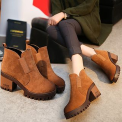 BARCA - Platform Block Heel Short Boots