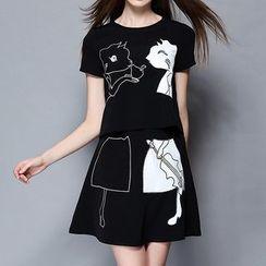 妮佳 - 套装: 短袖刺绣T恤 + 裙裤