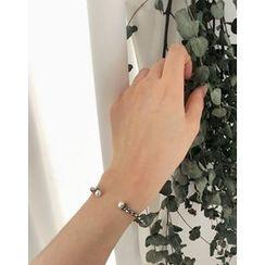 UPTOWNHOLIC - Faux-Pearl Twist Metal Bracelet