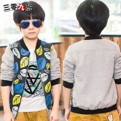 Lullaby - Kids Leaf Printed Panel Baseball Jacket