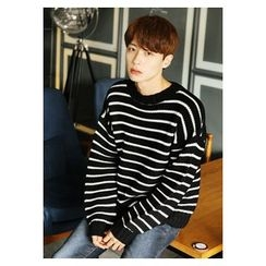 HOTBOOM - Crew-Neck Stripe Wool Blend Sweater