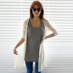 olivethey - Stripe Long Cardigan