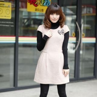 Pleated Dress with Knit Capelet