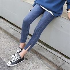 PINKSISLY - Slit-Hem Skinny Jeans