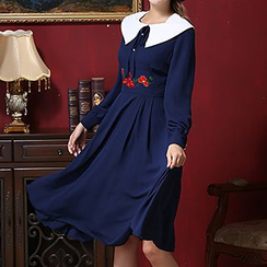 Rebecca - Embroidered Long-Sleeve Collared Midi Dress