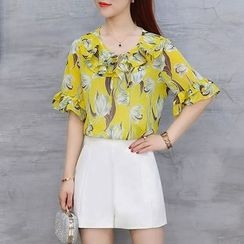 Ekim - Floral Print Elbow Sleeve Chiffon Blouse / Plain Shorts