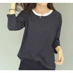 氣質淑女 - 七分袖條紋V領T恤