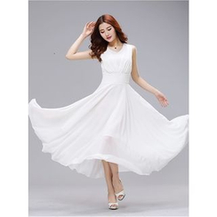 Dream Girl - Plain V-Neck Midi Chiffon Dress