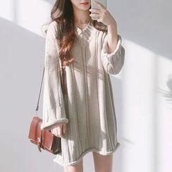 monroll - 纯色V领毛衣连衣裙