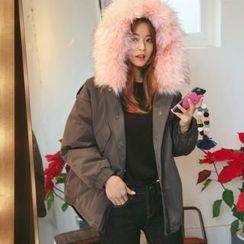 DABAGIRL - Faux-Fur Trim Hooded Padded Parka