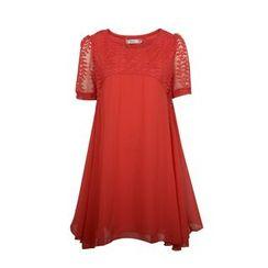 Flore - Lace-Panel Chiffon Dress
