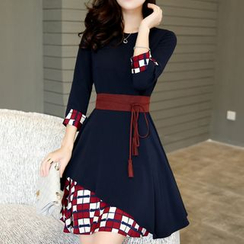 Ashlee - 七分袖不對稱連衣裙